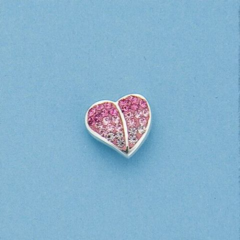Genuine 925 Sterling Silver Heart Shaped Stud Earring With Fading Pink Crystals